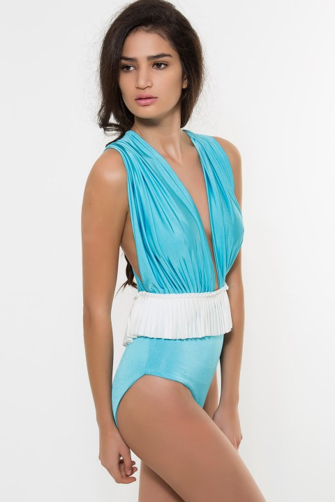 Nur Karaata Iconic Susi Swimsuit Blue&White