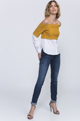 Lidyana Collection - Off Shoulder Hardal Gömlek Bluz