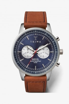 Triwa - TRIWA Nevil Chrono Navy Blue-Brown Unisex Kol Saati 42 MM