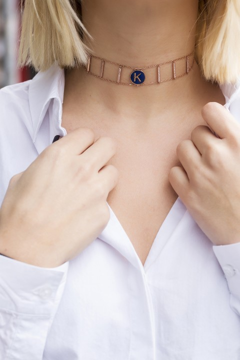 You Design Lacivert Mineli Harf Choker