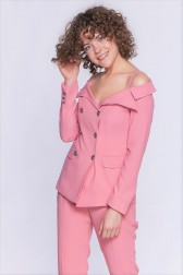 Lidyana Collection - Mock Kayık Yaka Pembe Ceket