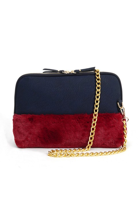 Mof Basics Furry Clutch Lacivert-Bordo