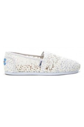 Toms - White Lace Leaves Women Alpargata