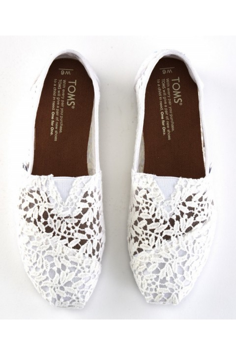 Toms White Lace Leaves Women Alpargata