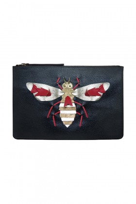 Catto & Catto - Edition Artistique Bee Siyah-Gold Deri Clutch