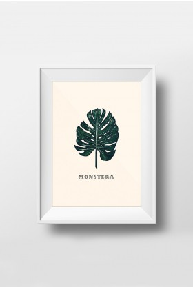 Action Zebra - Green Monstera 21x30 cm Poster