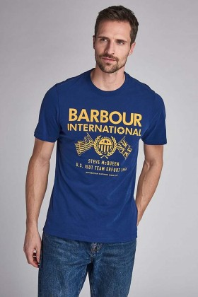 Barbour International - B.Intl Steve Mcqueen® Race Flags T-Shirt BL53 Inky Blue