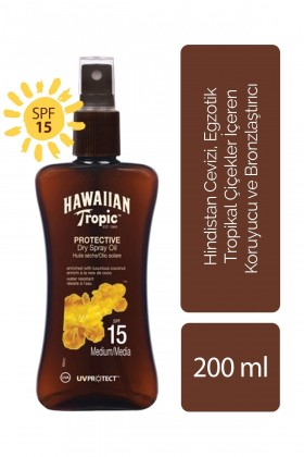 Hawaiian Tropic - Hawaiian Tropic Tropical Dry Spray Oil SPF15 UVProtect Coconut & Guava 200 ml - Koruyucu ve Bronzlaş